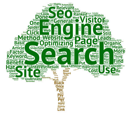 A Guide To Organic SEO And Its Benefits text background word cloud concept Illustration