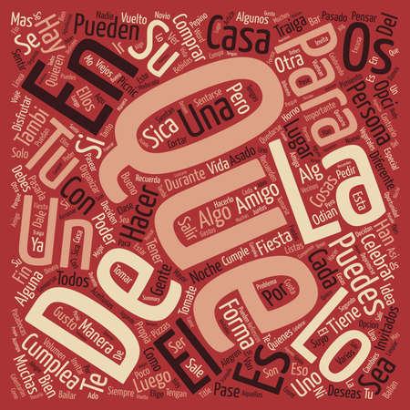 su: Formas de Celebrar un Cumpleaos text background word cloud concept Illustration