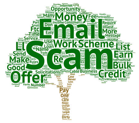 FTC Names Dirty Dozen Email Scams Word Cloud Concept Text Background