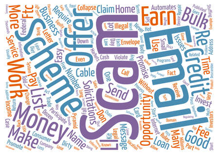 enforcing: FTC Names Dirty Dozen Email Scams text background word cloud concept