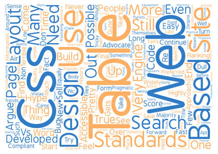 cuadro sinoptico: CSS and Tables The hype and the trends text background word cloud concept Vectores