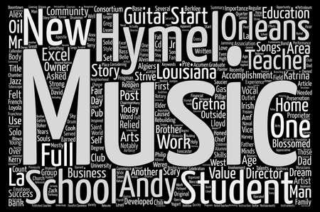 Von der Arbeit zu Hause Guitar Teacher zu voller Musik School Text Hintergrund Wort Cloud-Konzept