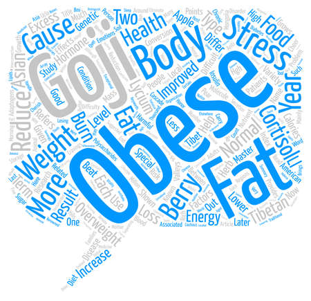improved: Goji and Weight Loss text background wordcloud concept Illustration