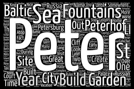 Fountains And Grounds Of Peterhof text background wordcloud concept Ilustração