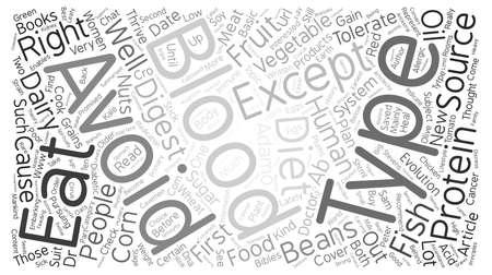 type writer: Blood Tytpe Diet text background word cloud concept Illustration