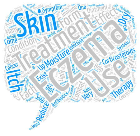 uncomfortable: Forms Of Treatment For Eczema Sufferers text background word cloud concept