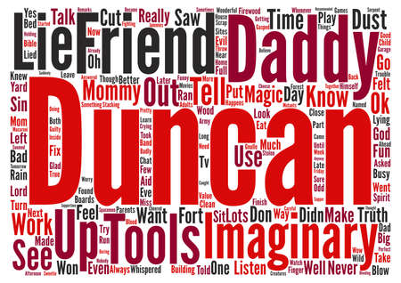 named person: Bad Imaginary Friend text background word cloud concept