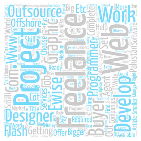 outsource: Freelance Services and Outsource Word Cloud Concept Text Background
