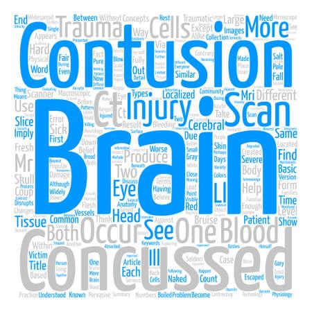 두뇌 타박상은 뇌진탕과 어떻게 다른가? 텍스트 배경 단어 구름 개념 일러스트
