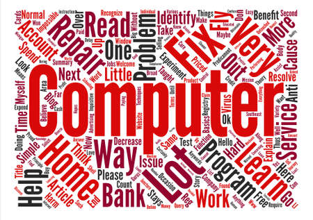 computer repair: Home Computer Repair text background word cloud concept
