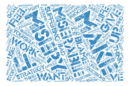 misery: How to Make Miserable Decisions text background word cloud concept