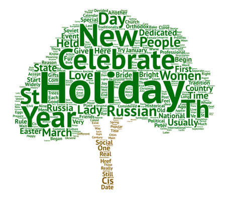 loved: Holidays that are loved by Russian women text background word cloud concept Illustration