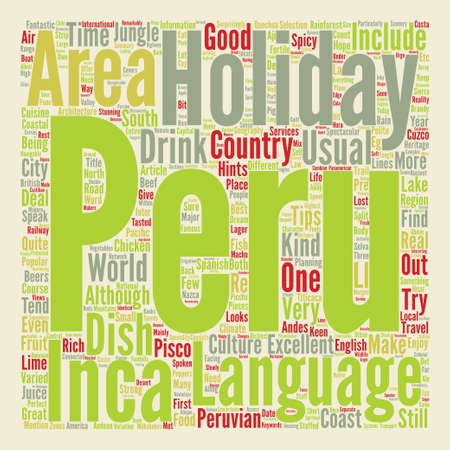 hints: Hints and tips for your holiday in Peru Word Cloud Concept Text Background