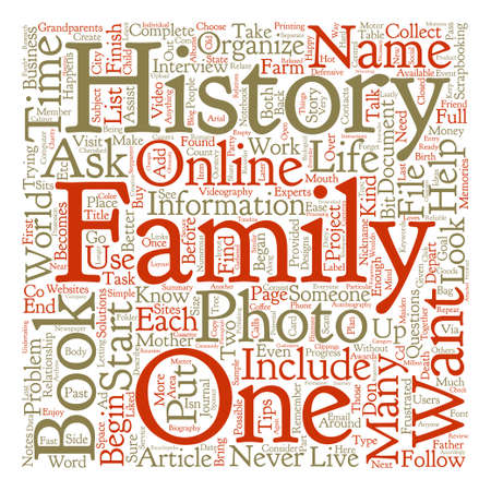 family history: How To Organize A Book About Family History text background word cloud concept