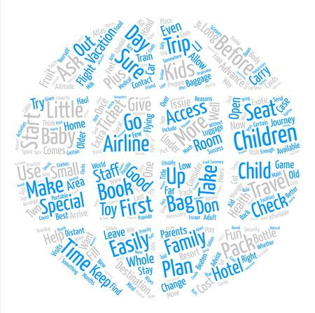 How To Prepare For A Trip With Your Kids text background word cloud concept