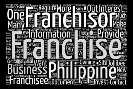 franchising: How to Buy a Franchise text background wordcloud concept Illustration