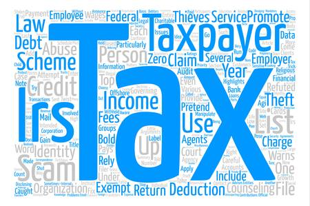 irs: Highlights of IRS List of Tax Scams text background word cloud concept Illustration