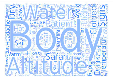 whilst: Health Issues Whilst On Safari text background word cloud concept