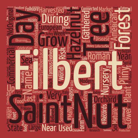 filbert: History Of The Filbert Hazelnut Word Cloud Concept Text Background