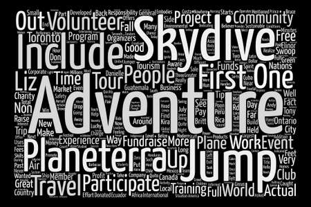 believer: Hello From Ontario A Jump For Charity Out Of A Plane text background word cloud concept