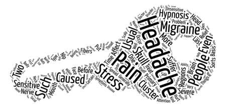Headache And Migraine Pain Relief Through Hypnotherapy Word Cloud Concept Text Background