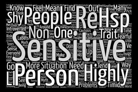 Les personnes très sensibles Traits et caractéristiques concept de nuage mot fond texte Vecteurs