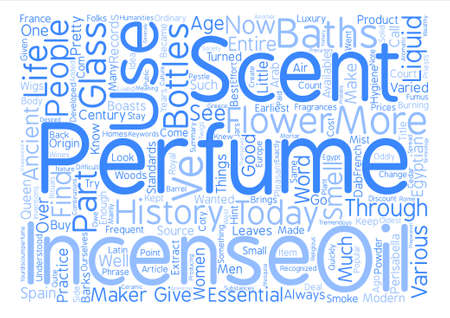 History of perfume text background wordcloud concept Illustration