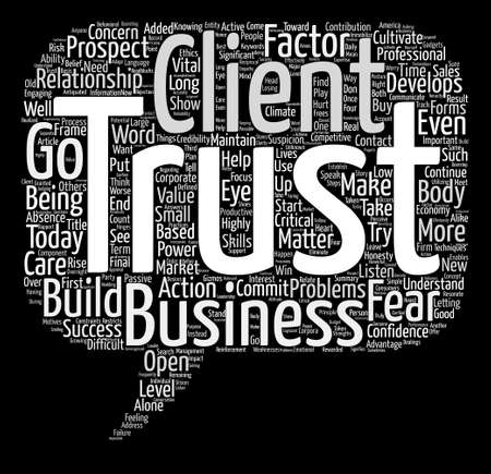 How To Cultivate The Trust Factor In Business Word Cloud Concept Text Background Иллюстрация
