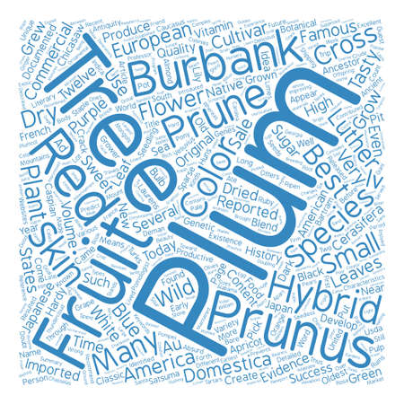 documented: History Of Plum Trees And Their Hybrids text background word cloud concept