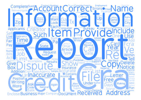 How to Dispute Credit Report Errors text background word cloud concept