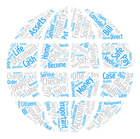 How Senior Citizens Can Simplify and Organize Their Finances text background word cloud concept Illustration