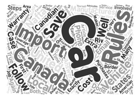 emphasized: How To Import A Car Into Canada Word Cloud Concept Text Background