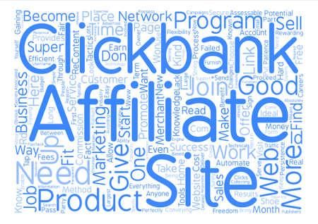 Clickbank 슈퍼 제휴사 텍스트 배경 단어 구름 개념이되는 방법