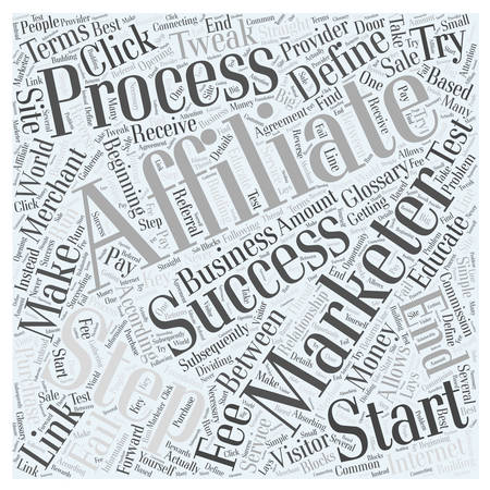 according: Affiliate Marketer Defined Word Cloud Concept