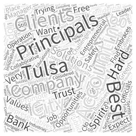 Accounting Principals and Tulsa Word Cloud Concept Illustration