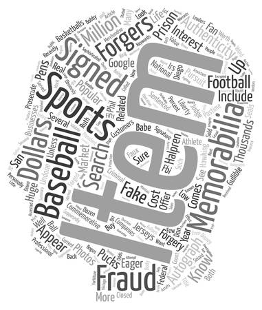 commemorative: Are Your Sports Memorabilia Faux Or text background wordcloud concept