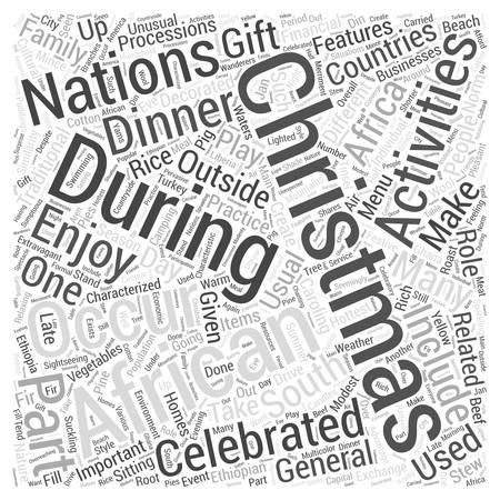 African Christmas Word Cloud Concept Ilustração Vetorial