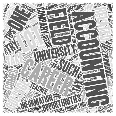 first job: Accounting Careers Promising Opportunities and Tips Word Cloud Concept