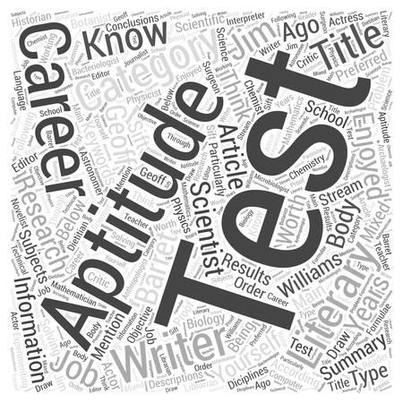 Aptitude Test Know Yourself Word Cloud Concept Векторная Иллюстрация