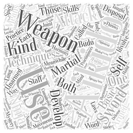 aikido technique weapon Word Cloud Concept.
