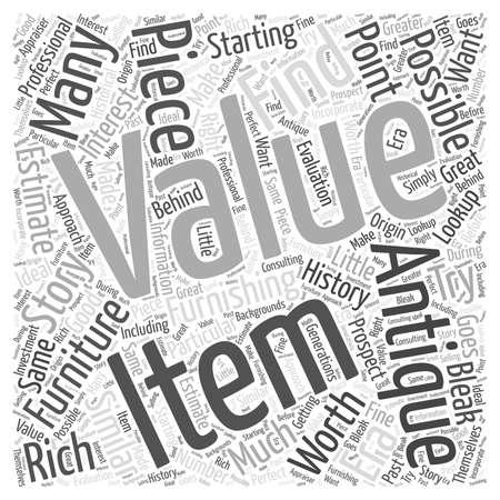 bleak: Antique furniture value lookup Word Cloud Concept. Illustration