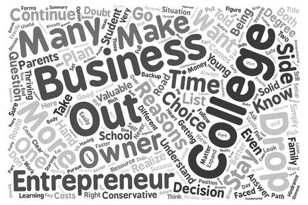 Entrepreneurs You Might Want To Drop Out Of College text background wordcloud concept