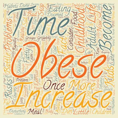 alarming: Childhood Obesity text background wordcloud concept