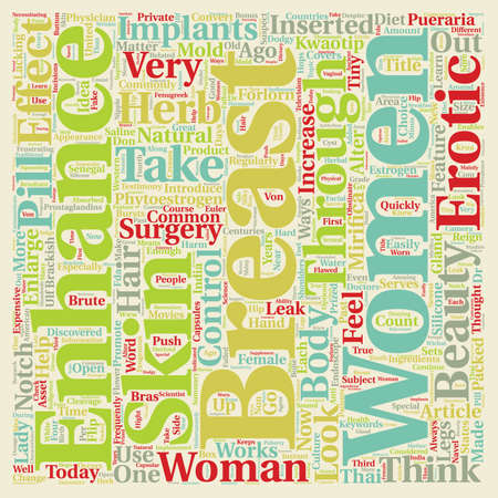 Breast Enhancement Erotic And Beautiful text background wordcloud concept Ilustração