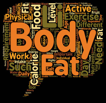 intake: Calorie requirements for the different type of body characteristics text background wordcloud concept