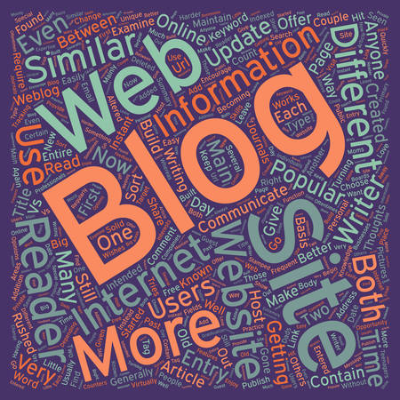 Blogs vs Websites What s The Big Difference text background wordcloud concept Illustration