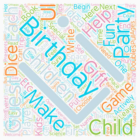 Birthday Party Ideas for Children Ages text background wordcloud concept