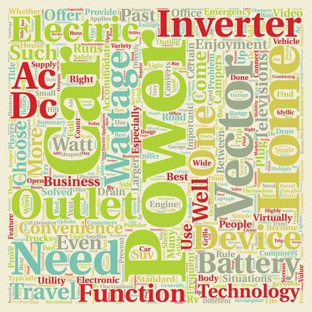 Car Power Inverters An A C Outlet On The Road text background wordcloud concept Illustration