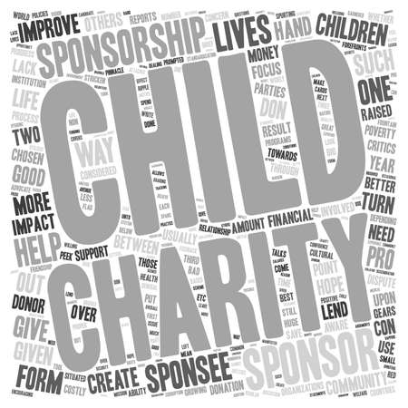 one person with others: Child Sponsorship Do or Dont text background wordcloud concept