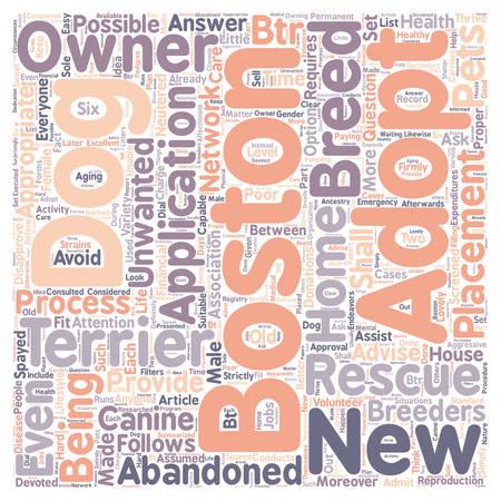 boston dog rescue terrier text background wordcloud concept Illustration